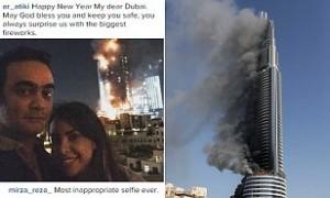 Gila, Pasangan Ini Selfie Di Depan Kebakaran Hotel Dubai