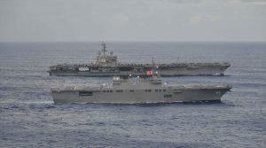 Kapal Induk AS Ronald Reagan Dan Kapal Perang Jepang Latihan Bersama