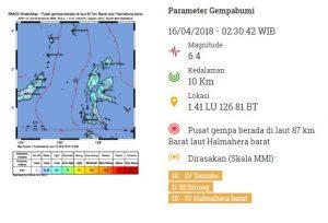 Gempa 6,4 SR Guncang Halmahera Barat