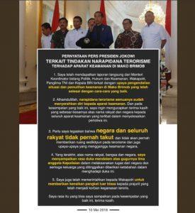 Pernyataan Presiden Jokowi Terkait Kerusuhan Di Mako Brimob