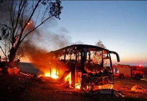 Bus Tentara Israel Hancur Kena Tembakan Rudal Dari Gaza